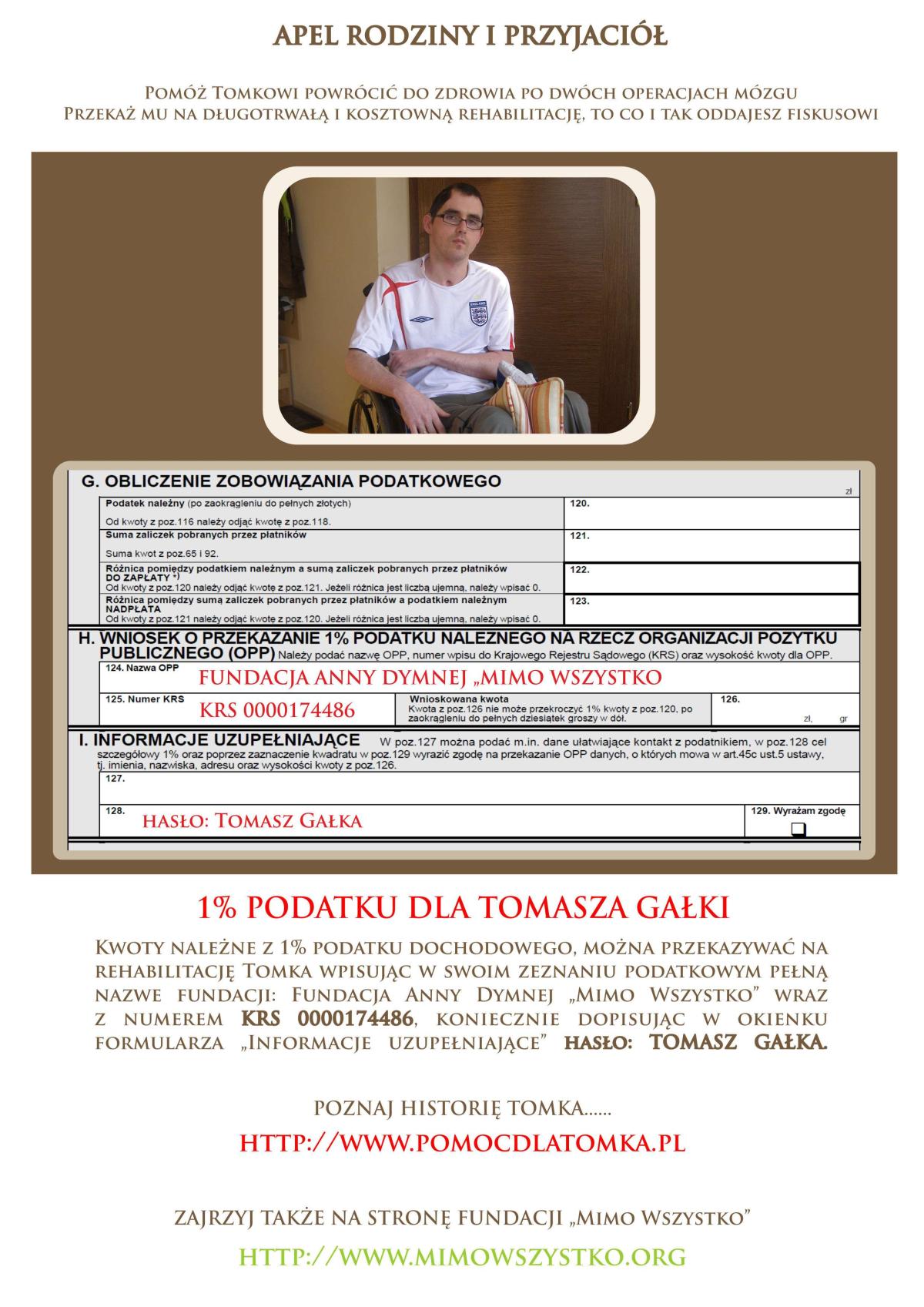 Apel przyjaciół Tomka - przekaż swój 1% podatku!